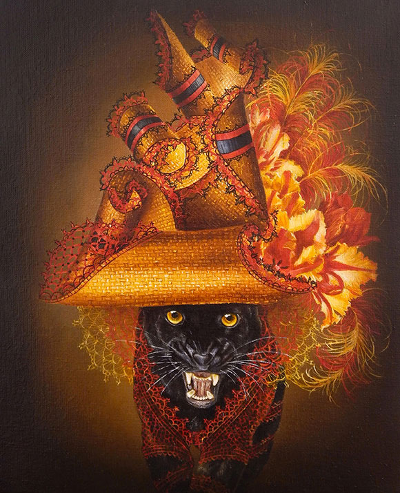 Marc le Rest, Panther with Tulips (Fleurs) | The Mad Hatter, Modern Eden Gallery