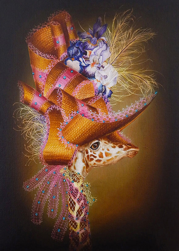 Marc le Rest, Giraffe with iris (Fleurs) | The Mad Hatter, Modern Eden Gallery