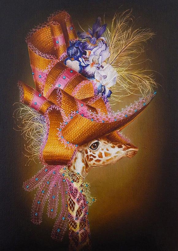 Marc le Rest, Giraffe with iris (Fleurs) | The Mad Hatter, Modern Eden Gallery