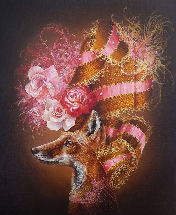 Marc le Rest, Fox with Roses (Fleurs) | The Mad Hatter, Modern Eden Gallery