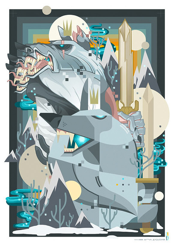 Cosmic Wolves by Ink & Clog - Where the Wildlings at | Glitch Singapore Urban Art Gallery