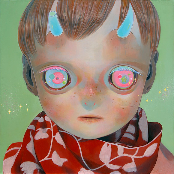 Hikari Shimoda, Blue Horns, Red Scarf - 3rd Annual Art Collector Starter Kit, Corey Helford Gallery