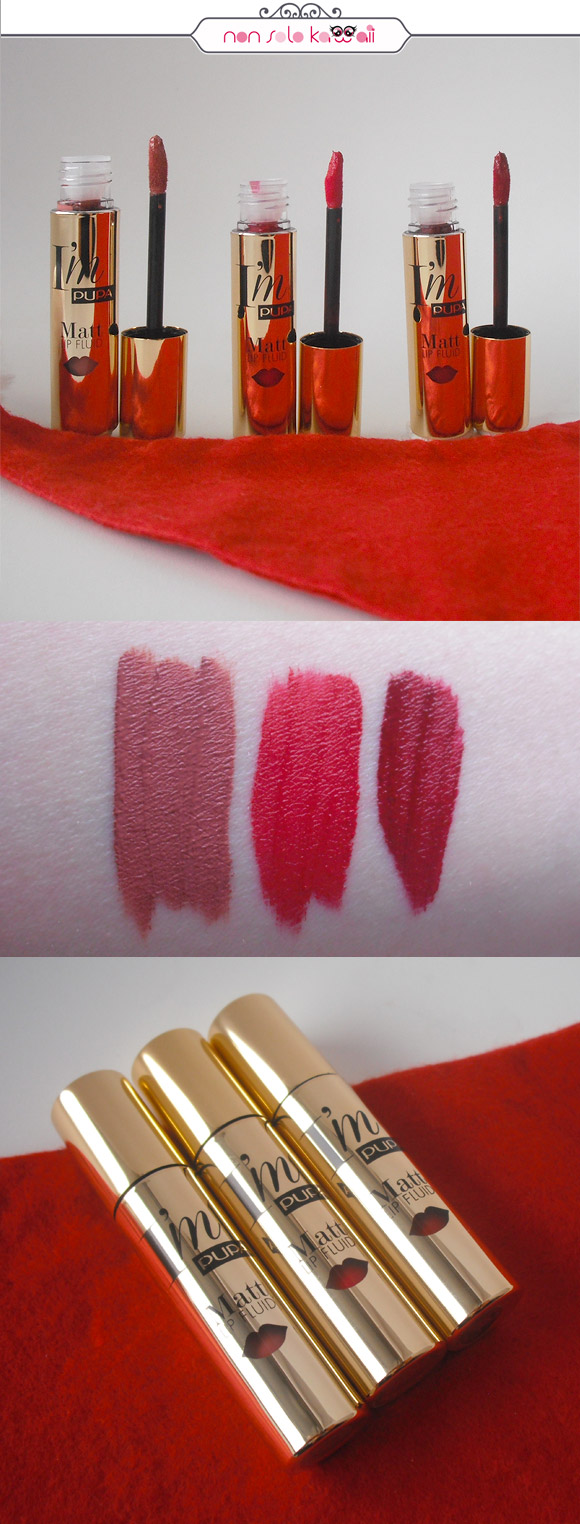 non solo Kawaii - Stay Gold! I'M Matt Lip Fluid 001 Pure Skin, 002 Hot Red, 003 Charming Burgundy