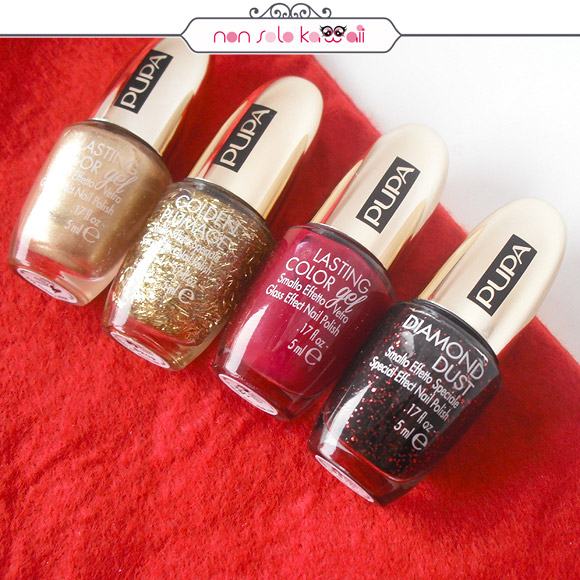non solo Kawaii - Stay Gold! Lasting Color Gel 135 Luxurious Gold, Golden Plumage, Lasting Color Gel 134 Deep Burgundy, Diamond Dust Glowing Black