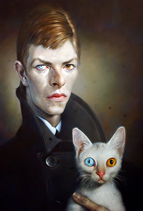 David Bowie and cat - Sebastian Kruger