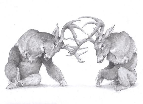 Adonna Khare - Gorilas with Deer Heads | Lápiz, Papel o Tijera - Plastic Murs