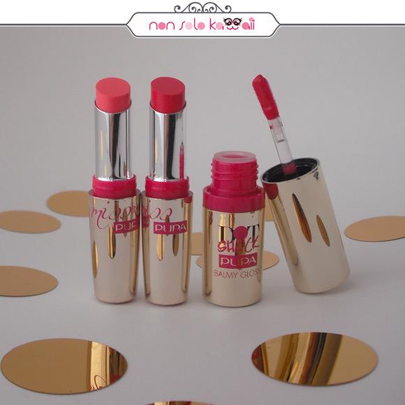 non solo Kawaii - Pupa Dot Shock, Miss Pupa 002 Fair Pink, Miss Pupa 003 Shock Fuchsia, Dot Shock Balmy Gloss 003 Glam Red