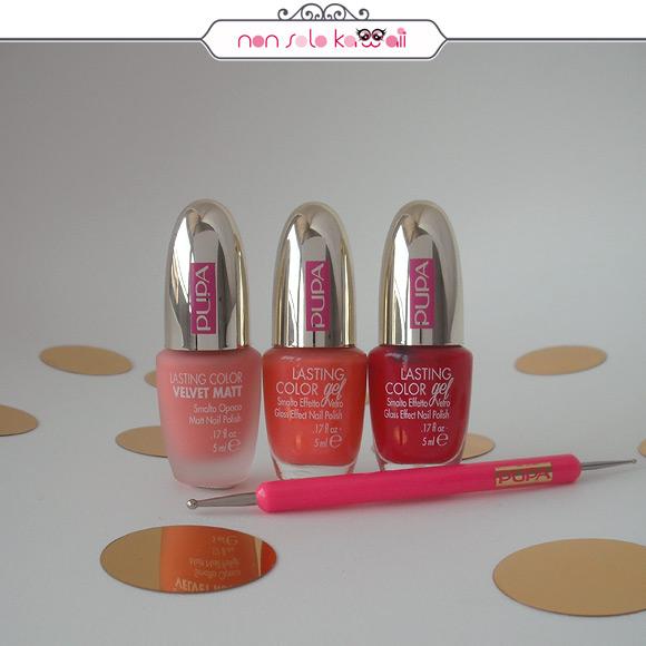 non solo Kawaii - Pupa Dot Shock, Lasting Color Velvet Matte 001 Sugar Peach, Lasting color 150A Sweet Apricot, Lasting Color 151A Passion Red, Dotter