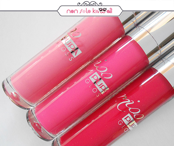 non solo Kawaii - Pupa Miss Pupa Gloss, 302 Ingenious, 303 Extreme Fuchsia, 305 Essential Red