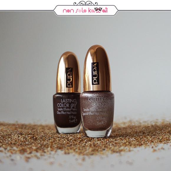 non solo Kawaii - Pupa Savanna Collection Glittery Sand Smalto Effetto Speciale, 001 Golden Rose & Lasting Color Gel,179 Dark Cocoa