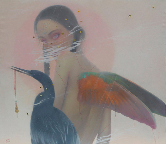 Tarntara Sudadung, A Voyager with Colorful Wings | Behind The Mythic Veil, Corey Helford Gallery